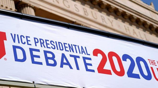 Preparations take place for the vice president debate outside Kinsgbury Hall at the University of Utah, Monday Oct. 5 2020 in Salt Lake City.