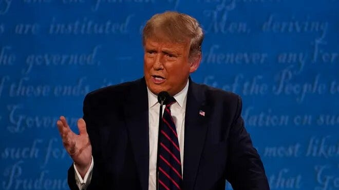 President Donald Trump at the presidential debate in Cleveland