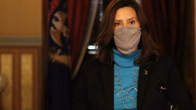 Governor Gretchen Whitmer provides an update the COVID-19 pandemic in Lansing Thursday.