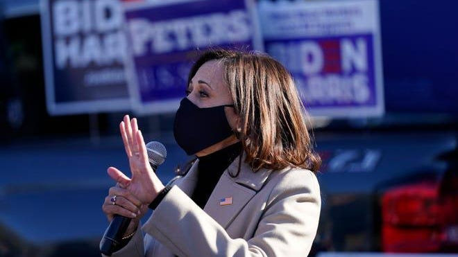 Democratic vice presidential candidate Sen. Kamala Harris, D-California, speaks at a campaign event Tuesday, Nov. 3, in Southfield.
