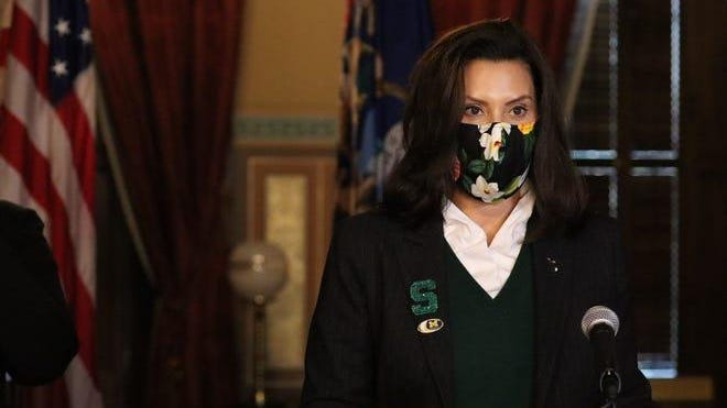 Gov. Gretchen Whitmer appears at a press conference on Oct. 28, 2020.