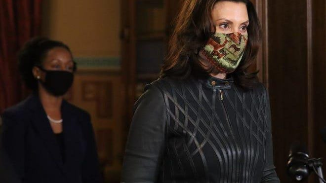 Gov. Gretchen Whitmer appears at a news conference on Dec. 1, 2020.