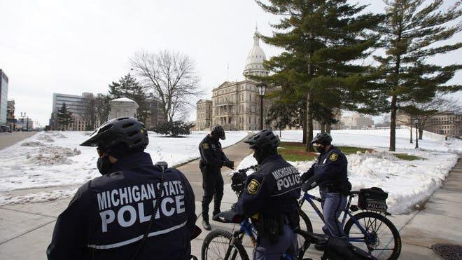 There was a stepped-up Michigan State Police presence outside the Michigan Capitol Wednesday as the 101st Legislature opened in Lansing.