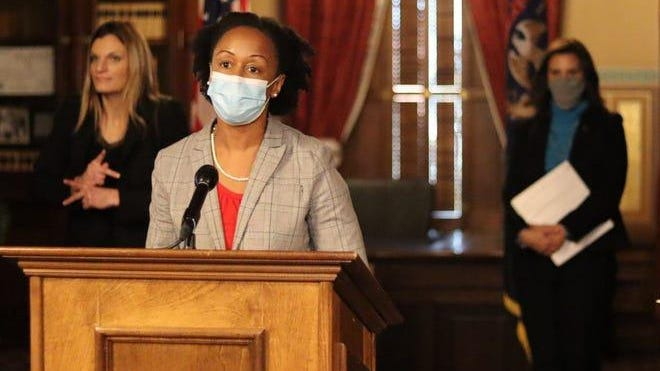 Dr. Joneigh Khaldun speaks during COVID-19 update in Lansing on Nov. 12, 2020.