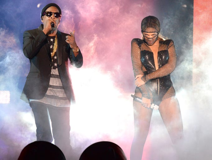 Jay Z and Beyonce perform during the opening night of their On the Run tour at Sun Life Stadium on June 25 in Miami Gardens, Fla.