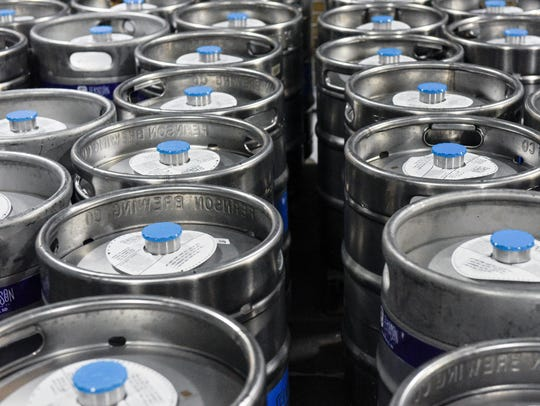 Kegs wait to be shipped at Fernson Brewing Company.