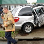 The driver of a mini-van struck and destroyed a utility pole Wednesday afternoon in front of 775 Lexington Ave. The driver, 35-year-old Leslie Sampsel of Mansfield, attempted to pass another vehicle and then lost control of her Dodge Caravan and struck the pole, according to police.