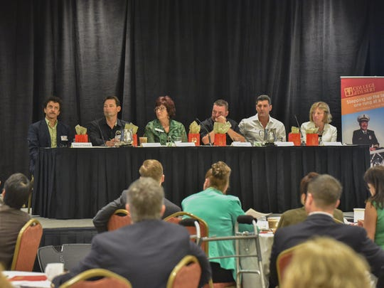 Panelists gathered at the Workforce Town Hall where ideas for better community college-employer collaboration was discussed.