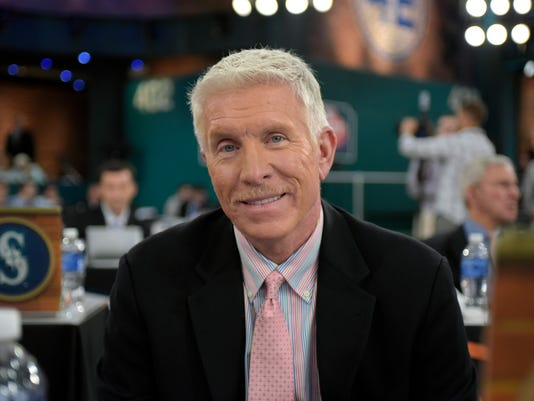 Former Philadelphia Phillies third baseman Mike Schmidt poses for a photo as he represents the Phillies at the 2015 MLB baseball draft Monday, June 8, 2015, in Secaucus, N.J. (AP Photo/Bill Kostroun)