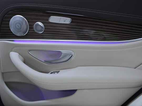 The new Mercedes E-Class uses colored LED lighting to create depth in surfaces in interior panels. The driver can control the shifting colors via a dashboard screen.
