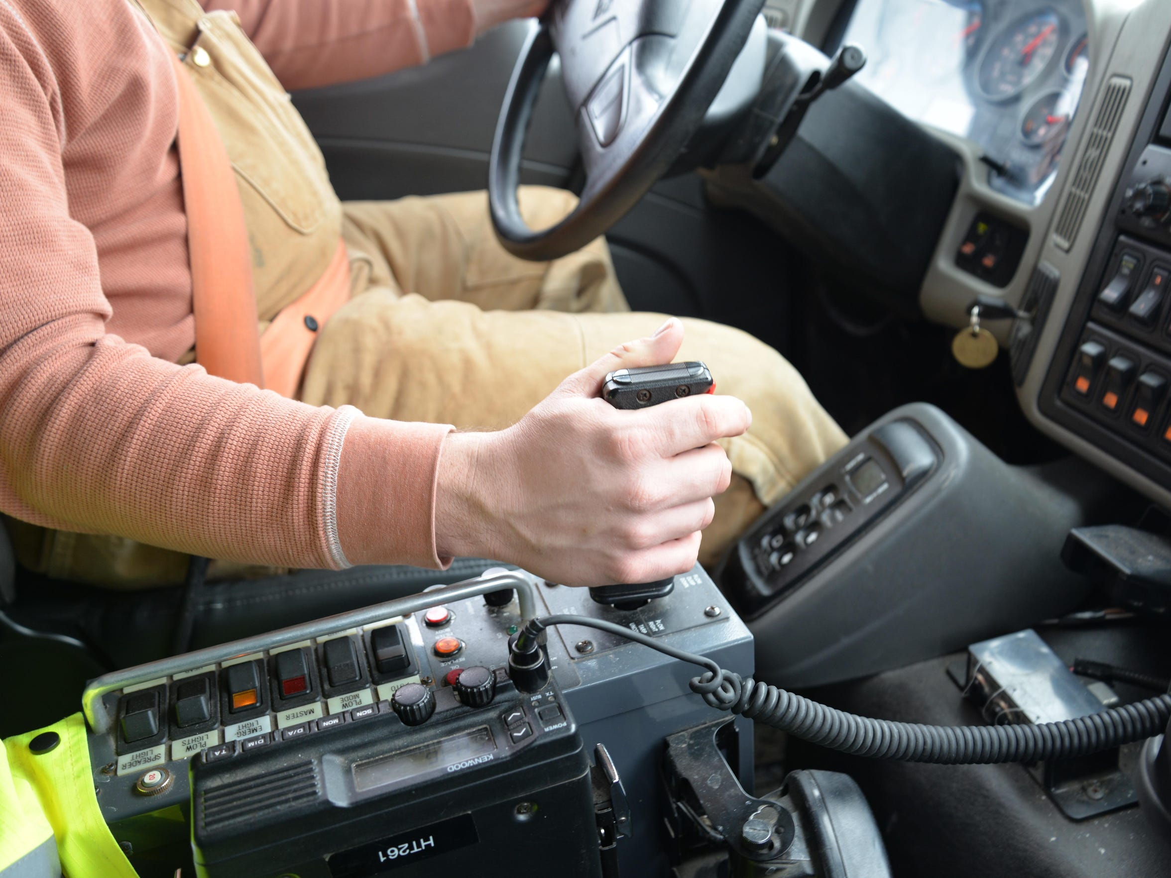 The joystick inside of Will Hamblet's snowplow. It moves the plow attached to the front of the truck and can also control the salt, which is in the back of his truck.