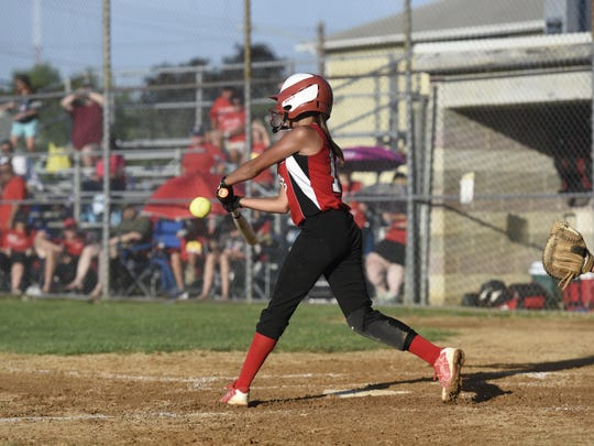 Hanover's Brynn Yacat takes a swing during the second inning.