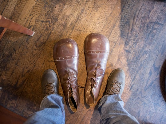 The original shoes that Cervi wore for the show are twice as long as normal shoes. Photos are of Art Cervi, also known as Bozo the Clown, during an interview at the Hockeytown Cafe, in Detroit, October 13, 2016.