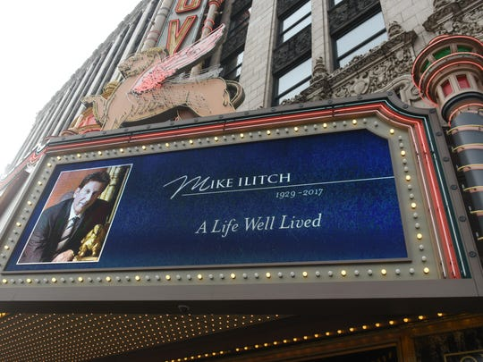 The Fox Theatre marquee honors Ilitch on Saturday. Ilitch gave the venerable theater new life in 1988.