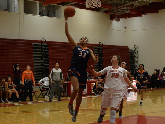 COS sophomore guard Idalis Rubalcava goes for a layup against Fresno City College in a game earlier this season in Fresno.