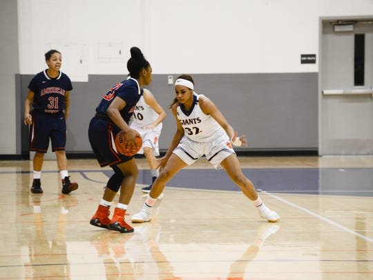 COS sophomore guard Idalis Rubalcava defends an opponent in game earlier this season at Porter Field House.