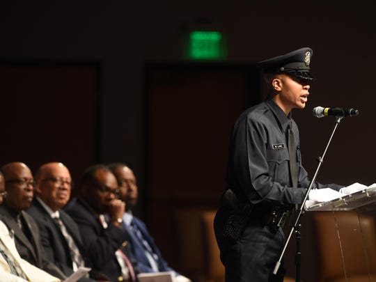 Detroit Police Student Police Officer Marquise Lake speaks during Detroit Police Department's Basic Recruit Graduation Class on Friday June 16, 2017 at Second Ebenzer Church.