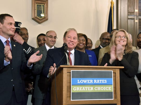 Detroit Mayor Mike Duggan has been lobbying to reform Michigan's no-fault auto insurance law, including through a lawsuit in federal court.