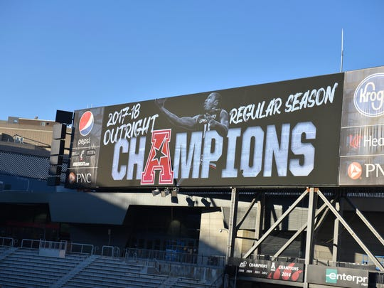 The scoreboard inside Nippert Satdium acknowledges the Bearcats Basketball team's American Athletic Conference Championship Sunday, March 34th at the University of Cincinnati
