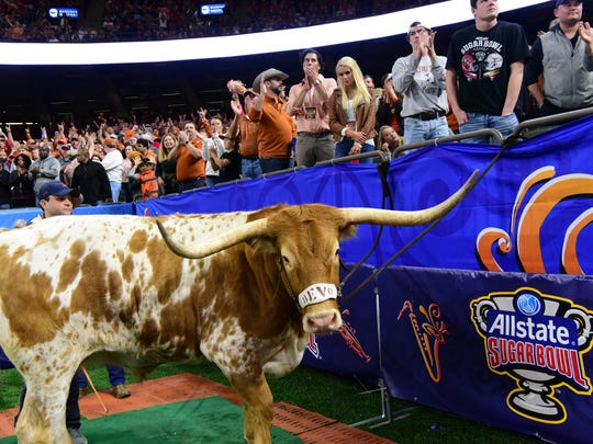 Bevo the longhorn cheers on the University of Texas as they take on the University of Georgia at the 2019 Allstate Sugar Bowl at the Mercedes-Benz Superdome on Tuesday, Jan. 1, 2018, in New Orleans.
