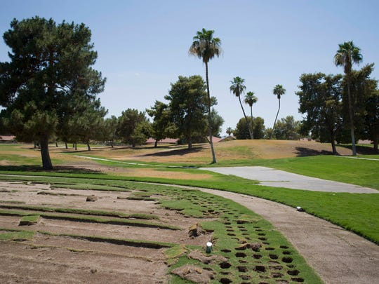 An area where sod was stripped away at Ahwatukee Lakes Golf Course.