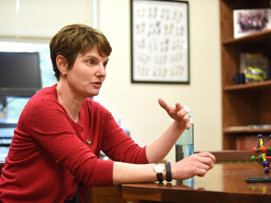 Sen. Steiner Hayward talks about her desire to toughen up the vaccination exemption policy in Oregon during an interview on Thursday, Feb. 12, 2015, at the Oregon State Capitol in Salem. Oregon has a 7 percent exemption rate.