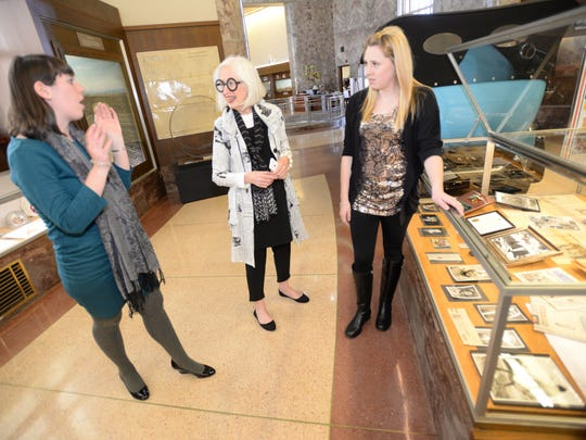 "Maggie Martin (center) chats with Louisiana State Exhibit Museum Curatorial Assistant/LSUS graduate student Lea Hair (left) and Centenary College student Chloe Snow about ""50 Years of Journalism: Maggie Martin and The Times."" It opens March 8."