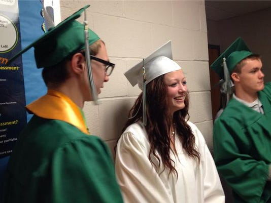 Members of Fairfield Area High School's Class of 2015 line up before their June 5 commencement.