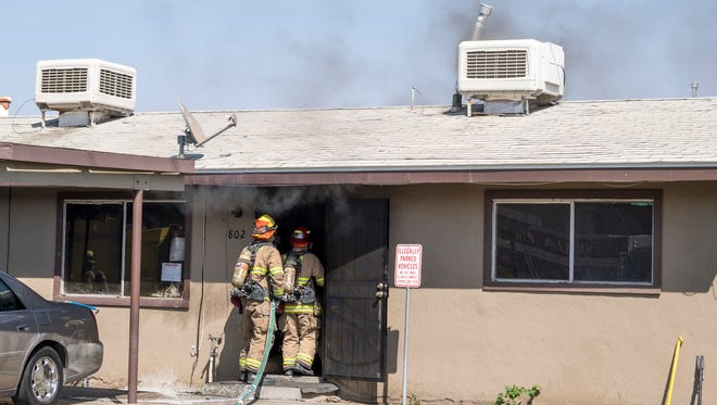 Visalia Fire Department responds to an apartment fire in the 800 block of South Santa Fe on Thursday, September 6, 2018. No injuries were reported.