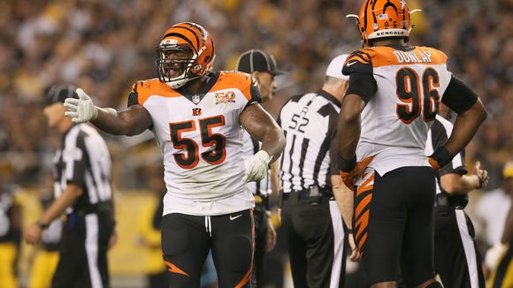 Cincinnati Bengals outside linebacker Vontaze Burfict (55) appeals to Cincinnati Bengals head coach Marvin Lewis to challenge the spot of a play in the third quarter during the Week 7 NFL game between the Cincinnati Bengals and the Pittsburgh Steelers, Sunday, Oct. 22, 2017,  at Heinz Field in Pittsburgh.