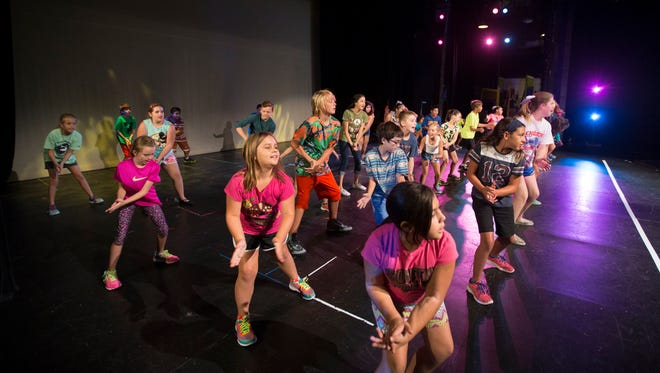Children participate in the Young People's Theatre Camp on Tuesday, August 4, 2015 at the Harbor Playhouse. The camp is a weeklong camp which features a performance at the end.