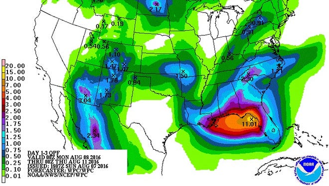 A map of the forecasted 72-hour rainfall precipitation in the U.S.