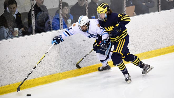 Battling for the puck along the boards Friday night are Livonia Stevenson's Vinny Decina (13) and Hartland's Jake DeYoung (77).