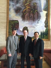 City officials traveled to China earlier this year in an effort to join a partnership that would bring international students to Battle Creek. From left: Ted Dearing, assistant city manager for community and economic development; Mayor Dave Walters; and Hee Kwan Lee, who worked on the trip as a consultant.
