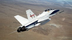 One of NASA's F/A-18 aircraft, which were obtained