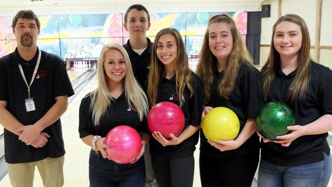 The Sevastopol High School bowling team, left to right: coach Adam Goldman, Sadie Weckler, Will Olson, Laci Lautenbach, Lexi Lautenbach and Morgan Swain.