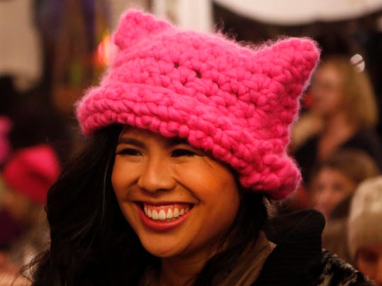 Krista Suh, co-creator of the pussyhat wears one that she knitted on Jan. 6, 2017 at The Little Knittery in Atwater Village, Calif.
