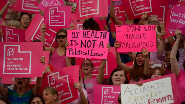 This Aug. 25, 2015, file photo, Planned Parenthood