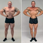 Jimmy Bryan of Saucier is shown at left on April 1, before beginning his return to bodybuilding, and at right on July 17, a few days before his first competition.