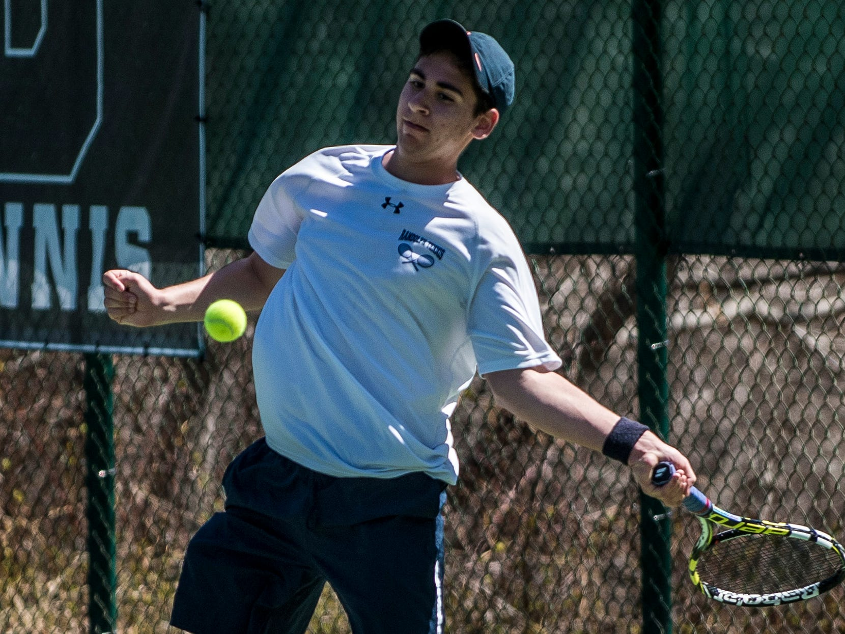 Randolph's Justin Gold plays in the consolation final against Holmdel at the Bryan Bennett Tournament at Delbarton on April 15.
