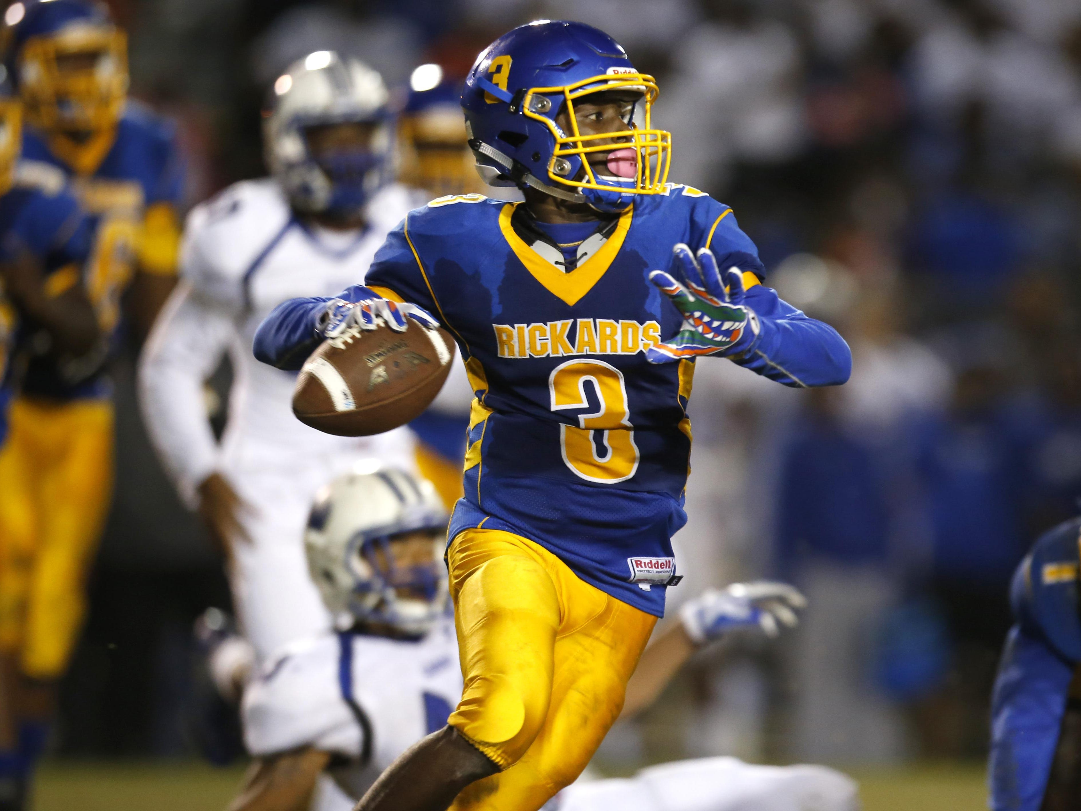 Rickards sophomore Marcus Riley scampered and passed his way to 556 yards of offense and seven combined touchdowns in a 49-42 win over Godby that gave the Raiders a spot in the playoffs and a city title.