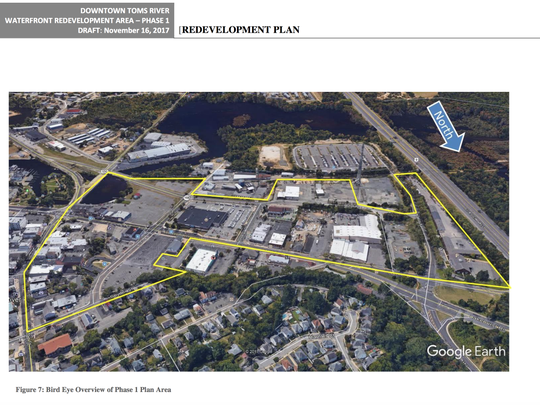 A map shows downtown Toms River's redevelopment area.