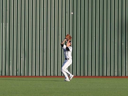 Iowa Park's Kaden Ashlock catches the flyball against