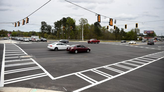 """The revamped intersection of Washington Road, left to right, and Riverwatch Parkway in Evans was funded using the Transportation Investment Act or """"TSPLOST"""" sales tax for transportation. Renewing the tax is on the Tuesday ballot."""