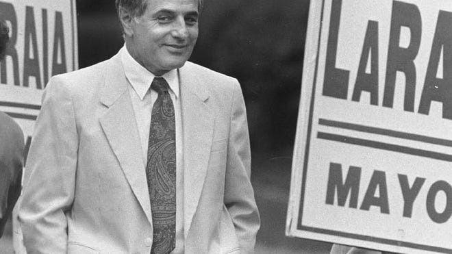 In this photo from September 1989, former Quincy Mayor Joseph LaRaia campaigns on the day of the preliminary election. Ledger file photo