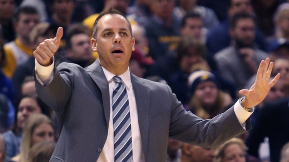 Pacers coach Frank Vogel gives instructions to players during the 88-86 win over the Charlotte Hornets at Bankers Life Fieldhouse in Indianapolis on Nov. 19, 2014.
