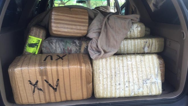 Troopers found 490 pounds of marijuana inside a vehicle.
