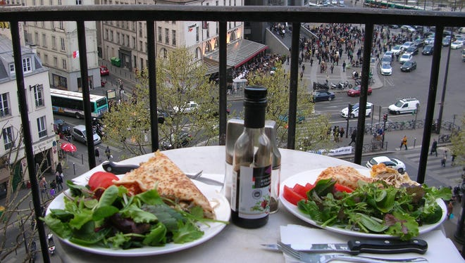 The view from the balcony in Place de la Bastille in Paris.