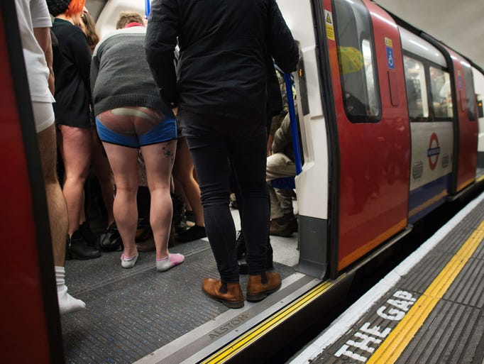 Mind the gap, and the bare legs in London.