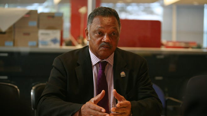 Civil rights leader Jesse Jackson speaks to the USA TODAY editorial board July 28, 2014, in McLean, Va. He said the Obama administration needs to scrutinize the tech industry's lack of diversity.